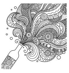 champagne bottle coloring vector image