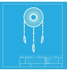 Dream catcher sign white section of icon on vector
