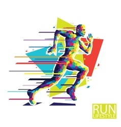 Abstract running man Style wpap vector image