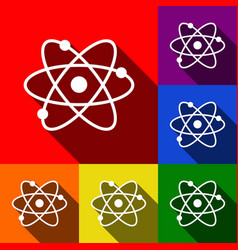 Atom sign set of icons with vector