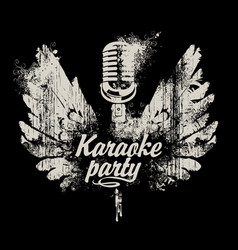 banner karaoke party with a microphone and wings vector image