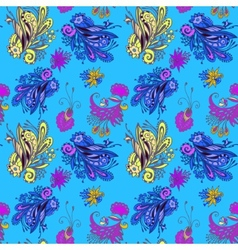 Blue flower seamless pattern vector image