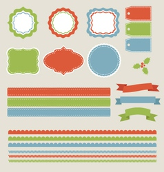 Christmas labels borders ribbons tags set vector