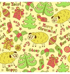 Christmas seamless pattern elements with sheep vector image