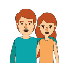 Color image caricature half body couple woman with vector