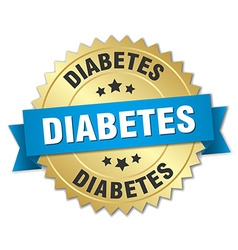 Diabetes 3d gold badge with blue ribbon vector