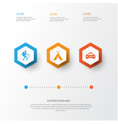 Exploration icons set collection of car booth vector