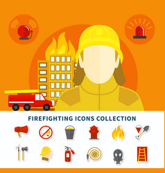 Firefighting icons collection vector