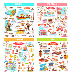 Fishing ice cream summer and sushi items vector