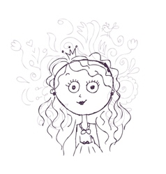 Funny little princess sketch for your design vector image