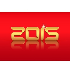 Gold 2015 year with reflection vector