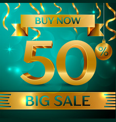 Gold big sale fifty percent for discount vector