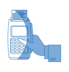 Hand with dataphone payment bying online vector
