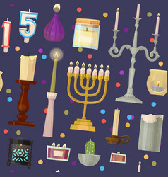 Hanukkah menorah candles candlelight flame vector