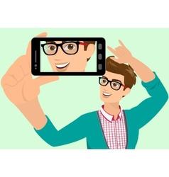 Happy guy is taking selfie vector