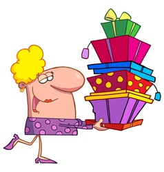 Happy holidays blond lady shopper vector
