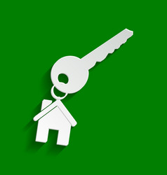 Key with keychain as an house sign paper vector