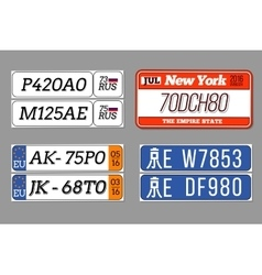 License car number plates set USA vector image vector image