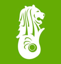 Merlion statue singapore icon green vector