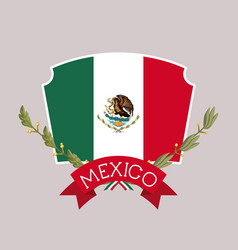 Mexico insignia flag with ribbon in colorful vector