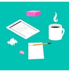Morning breakfast day planning tablet pc on table vector