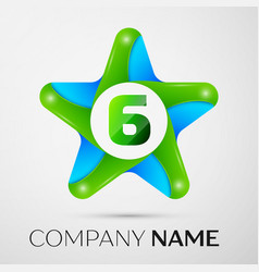 number six logo symbol in the colorful star on vector image vector image