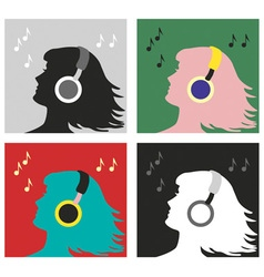 profile with headphones pop art vector image
