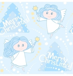 Seamless pattern with angels and Christmas trees vector image