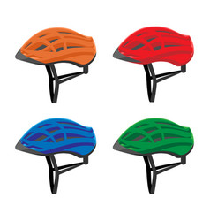set of bicycle helmets vector image vector image
