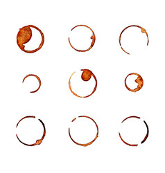 Set of coffee traces isolated on white background vector