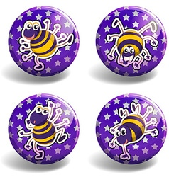 Set of purple badges with bugs vector