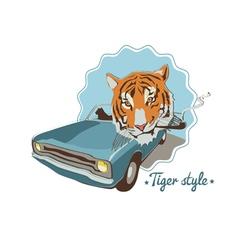 Smoking tiger portret in blue retro car vector image vector image