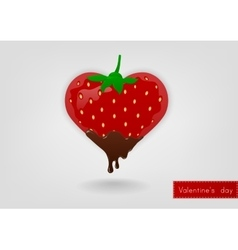 Strawberry in the shape of heart vector image vector image