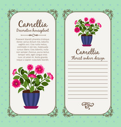 Vintage label with potted flower camellia vector