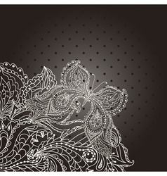 Vintage wedding invitation with lace paisley vector image vector image