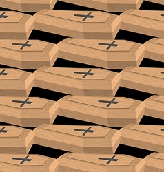 Wooden coffins seamless pattern background vector image