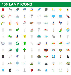 100 lamp icons set cartoon style vector image vector image