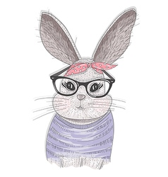 Cute hipster rabbit with glasses vector