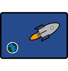 Space ship and earth vector
