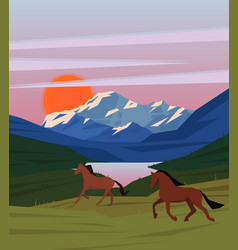 Colorful sunrise nature scenery template vector
