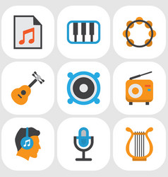 Multimedia flat icons set collection of rhythm vector