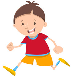 Running boy cartoon character vector
