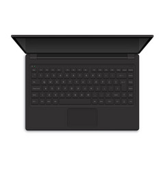 Open modern laptop top view vector
