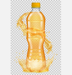 Transparent plastic bottle with water crown vector