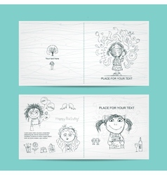 Birthday card template with cute girls sketch for vector