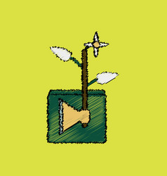 Flat shading style icon axe with buds vector