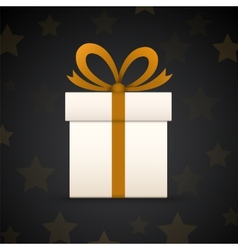 Paper gift box on black background with stars vector
