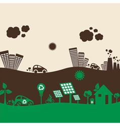 Creative design green and polluted city vector