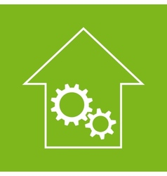 White and green house with gear wheels vector