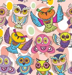 Seamless pattern sketch owls on a pink background vector